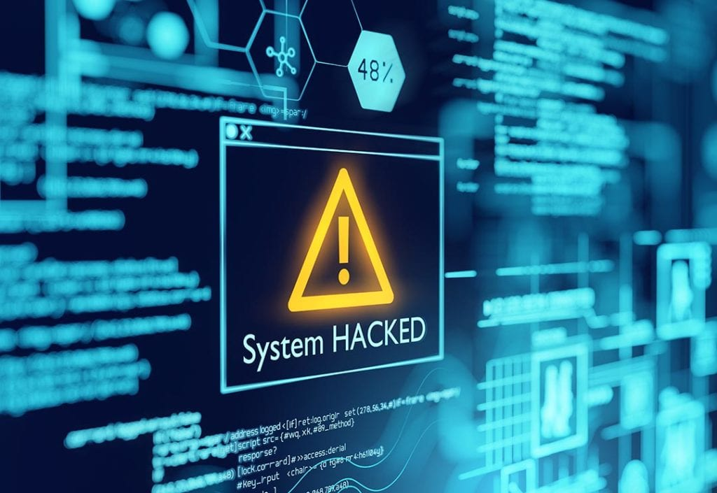 A computer system hacked