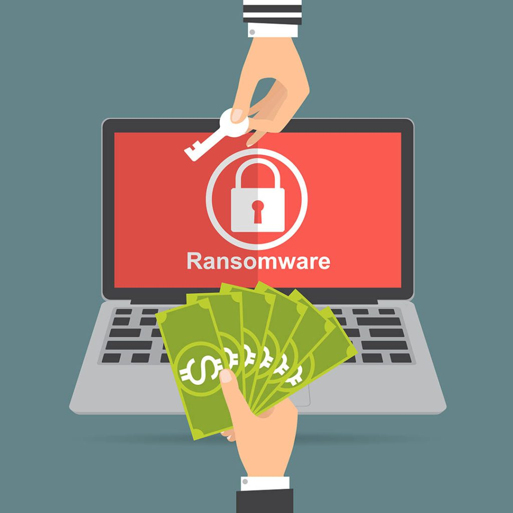 Hand holding money for paying the key from ransomware attack